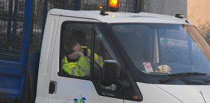 Worker asleep in truck